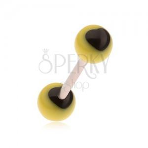 Nyelvpiercing sebészeti acélból, sárga golyók, fekete szívek
