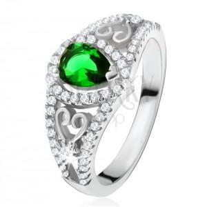 Gyűrű 925 ezüstből, zöld színű könnycsepp kő, átlátszó cirkóniák, szívkörvonal