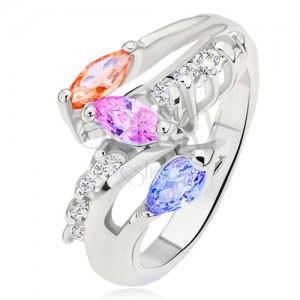Ezüst színű gyűrű, színes szemecskés kövek, kerek átlátszó vonal