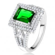 Gyűrű téglalapos zöld cirkóniával, kettős átlátszó kerettel, nyilak, 925 ezüst