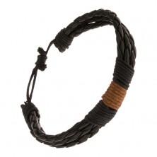 Karkötő - három fekete fonat fekete és barna fonallal körbecsavarva