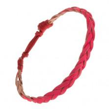 Bőrhatású karkötő rózsaszínben, hármasfonat, piros zsinór