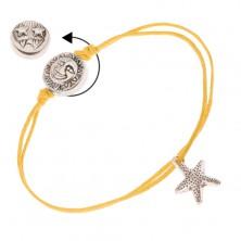 Karkötő sárga zsinórokból, tengeri csillag, tábla nappal, holddal és csillagokkal