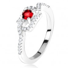 Ezüst gyűrű 925, piros kő, csavart cirkóniás szárak