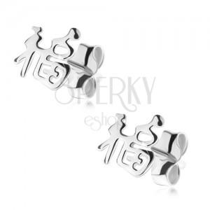 Beszúrós fülbevaló 925 ezüstből, kínai szimbólumok
