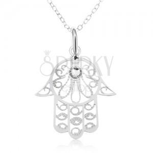 Ezüst 925 nyakék - nyaklánc ovális szemekből, Fatima keze, átlátszó cirkóniák