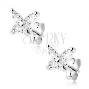 Átlátszó cirkóniás pillangó, fülbevaló 925 ezüstből