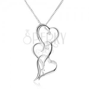 Nyakék három egyenetlen szív kövonallal, átlátszó cirkóniák - nyaklánc 925 ezüstből