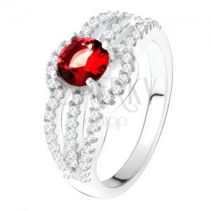 Gyűrű 925 ezüstből, piros kő, kerek cirkóniás vonal