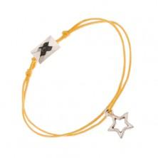 Karkötő sárga fonalakból, csillagkörvonal és csiszolt téglatest