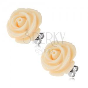Acél fülbevaló, krém rózsa gyantakőből, beudgós, 20 mm