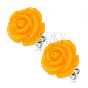 Acél fülbevaló, sárga rózsa gyantakőből, bedugós