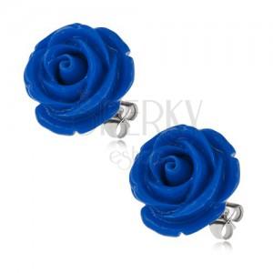 Acél fülbevaló, sötétkék rózsa, bedugós, 20 mm
