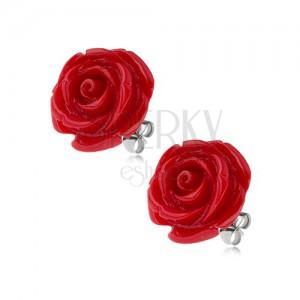 Acél bedugós fülbevaló, fényes piros gyanta rózsa, 14 mm