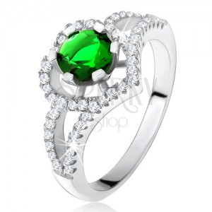 Gyűrű szétágazó szárakkal, zöld cirkónia, szívkörvonal, ezüst 925
