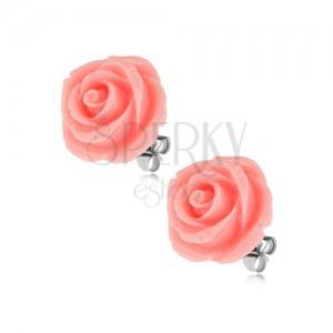 Fülbevaló acélból, rózsaszín rózsa, stekkeres kapocs, 14 mm