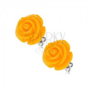 Acél bedugós fülbevaló, fényes gyanta rózsa sárga színben, 14 mm