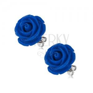 Fülbevaló sebészeti acélból, bedugós, kék rózsa gyantából, 14 mm