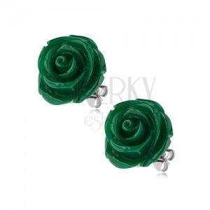 Fülbevaló acélból, zöld színben, rózsa, stekkeres kapocs, 14 mm