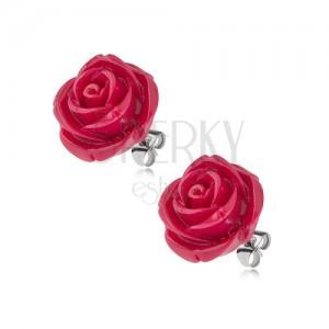 Bedugós fülbevaló sebészeti acélból, bordó rózsa gyantából, 14 mm