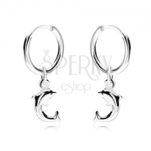 Fülbevaló 925 ezüstből, fényes sima karika, delfin