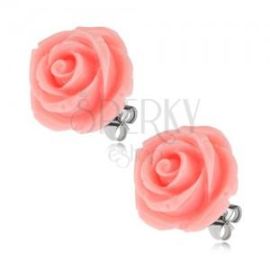 Beszúrós acél fülbevaló, rózsa gyantakőből, rózsaszín, 20 mm