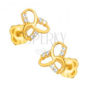 Fülbevaló 9K sárga aranyból - csillogó, kelta csomó, átlátszó kövek