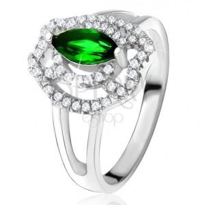 Gyűrű zöld búzaszem kővel, cirkóniás ívek, 925 ezüst