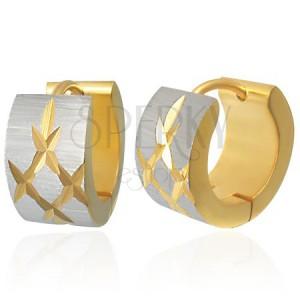 Aranyozott acél fülbevaló - vésett gyémánt formák