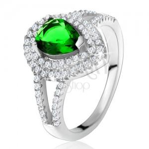 Gyűrű zöld könnycsepp alakú kővel, kettős tiszta keret, 925 ezüst
