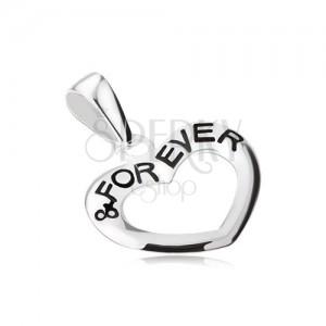 """Szívkörvonal, """"& FOREVER"""" felirat, medál 925 ezüstből"""
