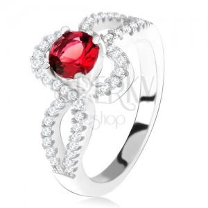 925 ezüst gyűrű, piros, kerek kő, tekert, cirkóniás szárak