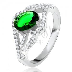 Gyűrű ovális zöld kővel, hullámos cirkónia szárak, 925 ezüst