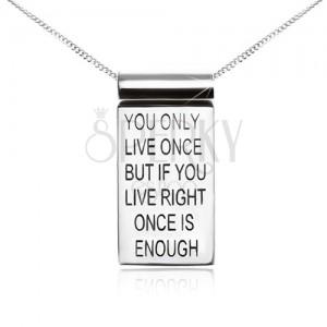 925 ezüst nyaklánc - finom lánc, tábla motivációs idézettel