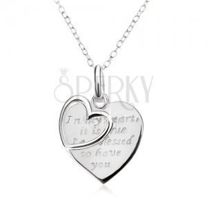 Állítható nyakék - lánc, szív felirattal, szívkörvonal, 925 ezüst