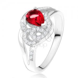 Gyűrű 925 ezüstből, rubinvörös könnycsepp kő, hullámos cirkóniás vonal