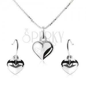 925 ezüst szett - nyakék függő fülbevalóból, kidomborodó szív