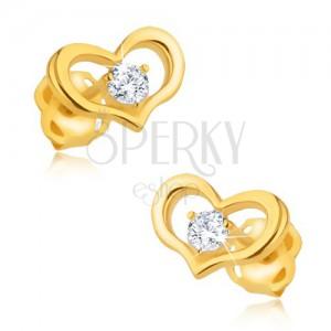 Arany fülbevaló 375 - fényes szimmetrikus szív, kerek cirkónia