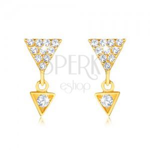 Fülbevaló 9K sárga aranyból - nagyobb és kisebb háromszög