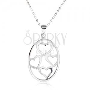 Nyakék ovális medállal, aszimmetrikus szívkörvonal, 925 ezüst