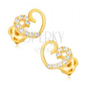 Fülbevaló 9K sárga aranyból - szimmetrikus szívkörvonal, cirkóniás vonal