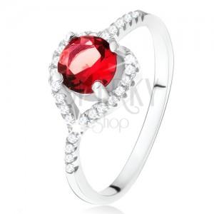 Gyűrű aszimmetrikus cirkóniás szívvel, piros kő, 925 ezüst