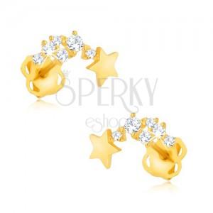 Csillogó fülbevaló 9K sárga aranyból - hulló csillag, kövecskék