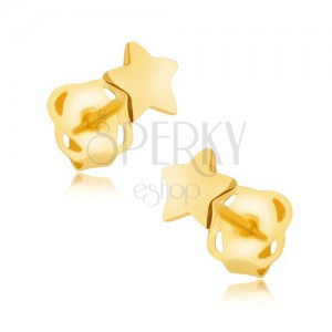 Fülbevaló 9K sárga aranyból - tükörfényű ötágú csillagocska