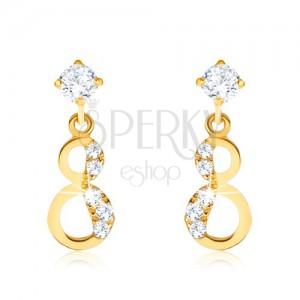 Fülbevaló 9K sárga aranyból - csillogó nyolcas, cirkóniás fél
