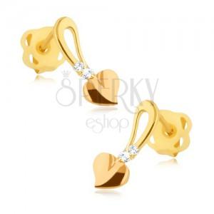 Fényes arany fülbevaló 375 - aranyrózsaszín szív száron, kövecskék