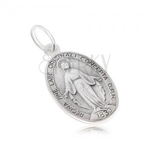 Ovális medál Szűz Máriával, matt, kétoldalas, 925 ezüstből