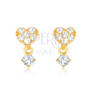 375 arany fülbevaló - apró cirkóniás szív, kő a foglalatban