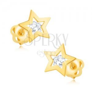 Fülbevaló 9K sárga aranyból - fényes csillagkörvonal, átlátszó cirkónia