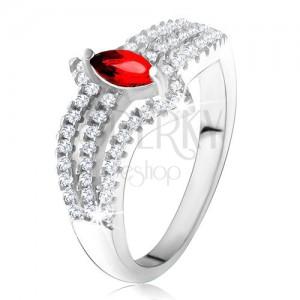 Gyűrű 925 ezüstből, piros szemecske kő, három cirkóniás vonal